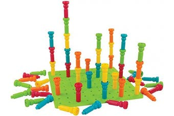 PlayMonster 2446 Lauri (Deluxe Tall-Stacker Pegs & Pegboard Set, Multi, 2-5/8 H in