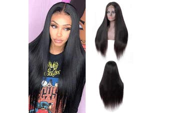 IUEENLY Brazilian Straight Lace Front Wigs Human Hair 13x 4 Lace Front Wig For Black Women Pre Plucked with Baby Hair Natural Black 150% Density (50cm )