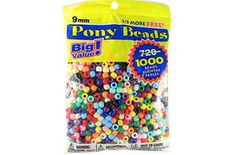 (1000 Beads, Multicolor) - Pony Beads 6mmX9mm 1,000/Pkg