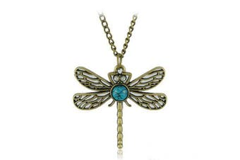 Aysekone Vintage Art Deco Style Bronze Tone Hollow Dragonfly Pendant with Turquoise Crystal Eye Inset Necklace Long Chain Necklace Sweater Necklace
