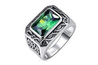 (P) - Bonlavie Men's 6.85ct 8*12mm Emerald Cut Created Green Emerald 925 Sterling Silver Ring