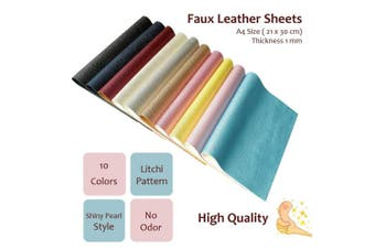 (Pattern B,10 Colours) - AOUXSEEM Vivid Shiny Pearl Litchi Pattern Faux Leather Sheets for Earrings Bows Jewellery Making,Metallic PU Solid Colour Fabric【A4 Size,10 Colours】
