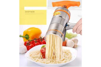 (#4) - MUUZONING Professional Stainless Steel Tagliatelle Maker Manual Fettuccine Spaghetti Rice Noodle Press Machine Pasta Fresh Vegetable Fruit Juicer Multifunction Kitchen Tool(1 x Maker + 6 x Mould)#2