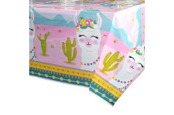 (1 Pack) - WERNNSAI Llama Table Cover - 110 x 180cm Party Disposable Plastic Tablecloth, Alpaca Lama Party Supplies for Kid Girl Pink Picnic Birthday Party Decorations