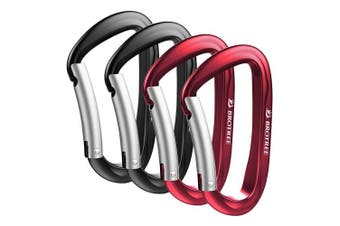 (4 Bent Gate Black2&Red2) - Brotree Carabiner D-Ring Wire Gate/Locking Carabiner Clip Hook for Hammock, Camping, Hiking, Fishing, and More