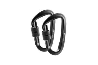 (2 Locking Black/Black) - Brotree Carabiner D-Ring Wire Gate/Locking Carabiner Clip Hook for Hammock, Camping, Hiking, Fishing, and More