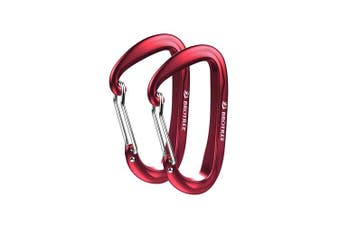 (2 A-WireGate Red) - Brotree Carabiner D-Ring Wire Gate/Locking Carabiner Clip Hook for Hammock, Camping, Hiking, Fishing, and More