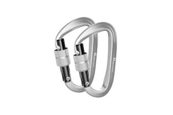(2 Locking Silver/Silver) - Brotree Carabiner D-Ring Wire Gate/Locking Carabiner Clip Hook for Hammock, Camping, Hiking, Fishing, and More