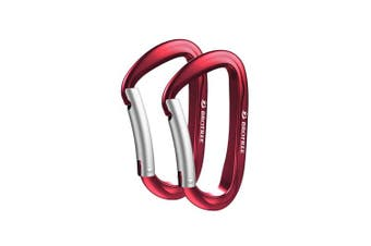 (2 Bent Gate Red) - Brotree Carabiner D-Ring Wire Gate/Locking Carabiner Clip Hook for Hammock, Camping, Hiking, Fishing, and More