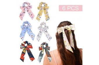 (6PCS, Spring Style) - 6Pcs Hair Scrunchies Bowknot Chiffon Elastics Hair Bands Scrunchy Hair Rope Ties Hair Bow Ponytail Holder Accessories for Women Girls