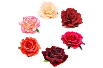 (6Pcs Red) - Coucoland Flower Hair Clip for Girls Bride Flower Hair Accessories Rose Flower Brooch Clip Wedding Flamenco Dancer Hairpins Costume Accessories (6Pcs Red)