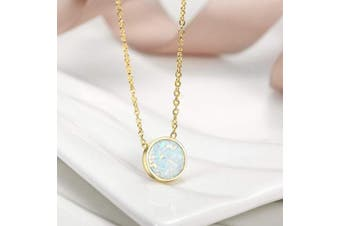 (I) - CIUNOFOR Opal Necklace Gold Plated Round Disc Initial Necklace Engraved Letter Necklace with Adjustable Chain for Women Girls