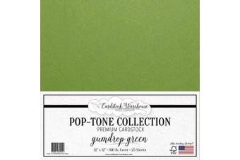(Gum Drop Green) - Gumdrop Green Cardstock Paper - 30cm x 30cm 45kg. Heavyweight Cover - 25 Sheets from Cardstock Warehouse