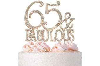 (65&Fab Rose) - Premium Metal 65 and Fabulous Rhinestone Gem Cake Topper. Perfect 65th Birthday Party Keepsake and Decoration. Sparkling, Crystal and Diamond Style Bling Makes a Great Centrepiece. (65 & Fab Rose Gold)