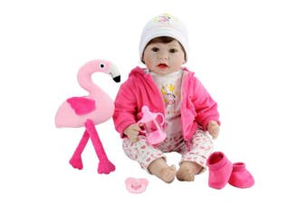 Aori Lifelike Reborn Baby Doll Realistic Vinyl Doll 60cm Baby Toy with Pink Flamingo Set