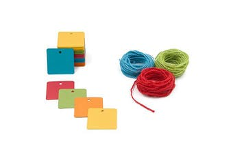 (Square) - 150 Square Paper Gift Tags Labels with String - 5 Assorted Coloured Blank Paper Tag with Jute Twine for Thank You Baby Shower Birthday Wedding Favour