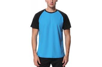 (Medium, Blue - Black) - Charmo Mens Sun Protection Swim Shirts Rash Guard Swim Tee Short Sleeve Swimwear