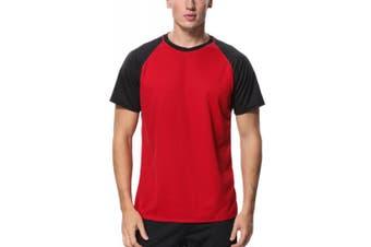 (Medium, Red - Black) - Charmo Mens Sun Protection Swim Shirts Rash Guard Swim Tee Short Sleeve Swimwear