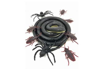 Mimgo-shop Realistic Rubber Snake Toy Garden 130cm Black Snake Scary Prank Props for Practical Jokes, Halloween, Tricky April with 2 Spiders and 6 Cockroaches Toy