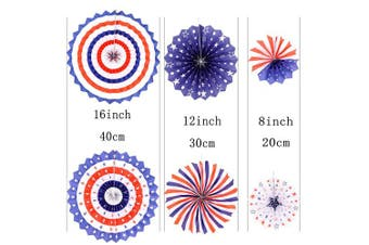 (Paperfan-americantheme-12pc) - Independence Day Party Hanging Paper Fans Decorations -National Day Patriotic American Theme Birthday Party 4th of July Party Ceiling Hangings Photo Booth Backdrops Decorations, 12pc