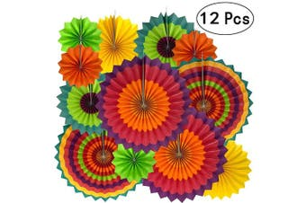 (Paperfan-mexican-12pc) - Fiesta Mexican Party Hanging Decorations - Wedding Baby Shower First Birthday Party Carnival Party Ceiling Hangings Photo Booth Backdrops Props Decorations, 12pc