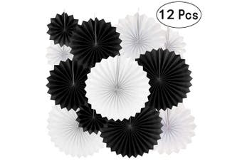 (Paperfan-blackwhite) - Black White Party Hanging Paper Fans Decorations - Wedding Retirement Graduation Birthday Party Engagement Bridal Shower Party Ceiling Hangings Photo Booth Backdrops Decorations, 12pc