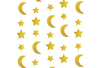 (Papergarland-starsmoons-gold) - Gold Glitter Crescent Moon Twinkle Stars Garlands Garlands Baby Shower Birthday Wedding Party Engagement Bridal Baby Shower Ceiling Hanging Decorations, 7.9m