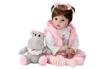 Aori Lifelike Realistic Reborn Baby Doll 60cm Real Looking Weighted Reborn Doll with Pink Clothes and Accessories Best Birthday Set for Girls Age 3