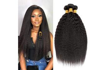 Clarolair Kinky Straight bundles Brazilian Hair Bundles Yaki Human Hair Bundles Yaki Straight Hair 3 Bundles Non Remy Hair Natural Black 100g±5g/pc 18 20 22
