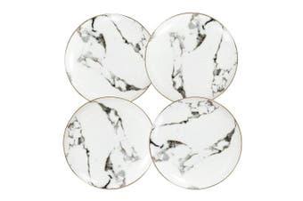 (Slight Gold 20cm ) - Coffeezone Slight Gold Inlay Fashion Marble Design Porcelain Dessert Plates Set of 4 (Slight Gold 20cm )