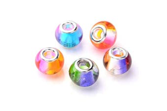 (Glass-15) - Craftdady 100Pcs Large Hole Glass European Spacer Beads 15x12mm Gradient Rainbow Mixed Colours Slide Charm Rondelle Beads for Snake Chain Bracelet Jewellery Making Hole: 5mm