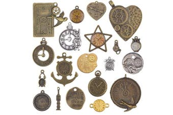 (style2) - BronaGrand 20pcs Mixed Antiqued Charms Clock Face Charm Pendant, DIY Crafts, Gears, Jewellery Making, Steampunk Pendants,3 Colours
