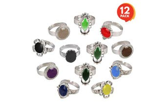ArtCreativity Colour Changing Mood Rings for Girls and Boys (Set of 12) | Adjustable Rings with Colour Key Card | Assorted Kids' Toy Jewellery | Cute Birthday Party Favours and Goodie Bag Fillers