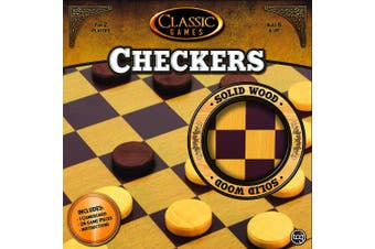 (Checkers) - TCG Toys Solid Wood Checkers Set, 25cm