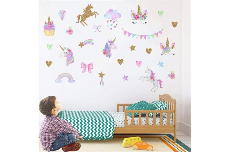 MLM Unicorn Wall Decals, Unicorn Wall Sticker Decor with Heart Flower for Kids Rooms Birthday Gifts for Girls Boys Bedroom Nursery Home Party Home Decor