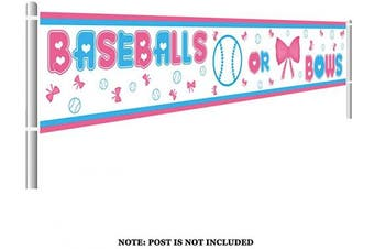 (Baseballs Or Bows) - Colormoon Gender Reveal Party Supplies Decorations, Large Baseballs or Bows Banner, Pink & Blue Gender Reveal Party Decorations (3m x 0.5m)