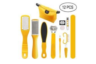 LINMO 12 in 1 Professional Pedicure Tools Kit, Pedicure Rasp Foot File Callus Remover Set, Foot Scrub Care Tool