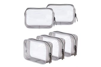 (5 Black Large) - Clear Toiletry Carry Pouch with Zipper Portable PVC Waterproof Cosmetic Bag for Vacation Travel Bathroom and Organising (5 Black Large)