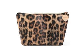 Makeup Bag,Cosmetic Lipstick Cute Pouch Toiletry Travel bag and Brush Organiser Purse Handbag For Women, Leopard