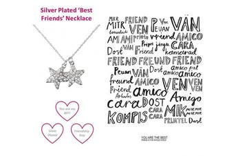 (Best Friends Necklace) - Best friends Forever Mum Mother Silver Plated Necklace Memories Friendship Love Faith Hope Crystal Jewellery Gift Boxed
