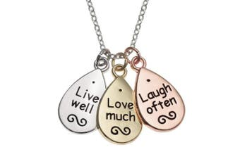 (Live Love Laugh - Triple Tone Oval Necklace) - Best friends Forever Mum Mother Silver Plated Necklace Memories Friendship Love Faith Hope Crystal Jewellery Gift Boxed