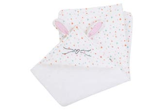 ED Ellen DeGeneres Cotton Tail - Soft Plush Multi Colour Heart Print Hooded Bunny Baby Blanket with Dimensional Ears & Whiskers, White, Rose, Aqua, Coral