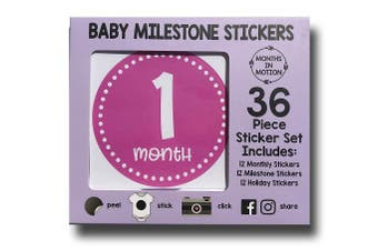 Deluxe Baby Month and Milestone Stickers for Girl by Months In Motion | Track Your Baby's First Year and Holidays