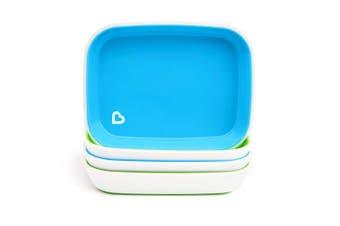 (Blue/Green) - Munchkin Splash 4 Piece Toddler Plates, Blue/Green