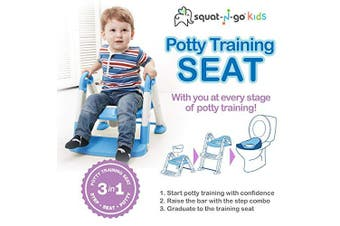 (Blue) - Babyloo Bambino Booster 3 in 1 - Collapsible Toilet Training Step Stool assists Your Toddler to go While They Grow! Convertible Potty Trainer for All Stages Ages 1-4 (Blue)