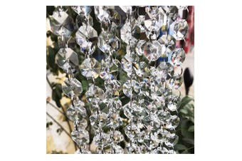 (19.7Feet) - Crystal Chandelier Beads Beebel 6m Clear Glass Crystal Beads Lamp Chain Garland for Chandelier Prism Octagon Beads Chain for Wedding Home and DIY Craft Jewellery Decoration
