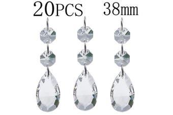 (38 mm) - Chandelier Beads 20 Pcs Pendants Teardrop Lamp Chain Crystal Pendants Glass Pendants Beads Christmas Decoration 38mm