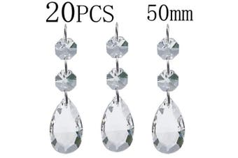 (50 mm) - Chandelier Beads 20 Pcs Pendants Teardrop Lamp Chain Crystal Pendants Glass Pendants Beads Christmas Decoration 50mm