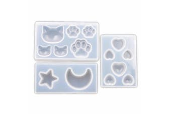 3 Pcs Star Moon/Cat Footprint/Love Heart Jewellery Silicone Mould with Hole for Polymer Clay, Crafting, Resin Epoxy, Pendant Earrings Making, DIY Mobile Phone Decoration Tools 010168/010169/010170