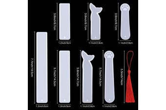 COCODE 7 Pieces Silicone Bookmark Mould DIY Transparent Epoxy Resin Casting Jewellery Moulds Include Rectangle, Cat Claw, Mermaid Tail Shaped for Craft Making with 14pcs Different Colour Handmade Tassels